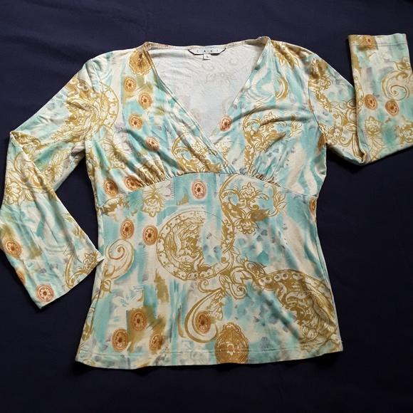 CAbi Tops - CAbi V-Neck Aqua Lt. Blue White Gold Orient Shirt